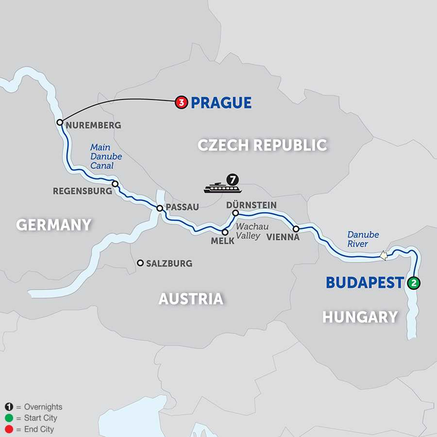 Itinerary map of The Blue Danube Discovery