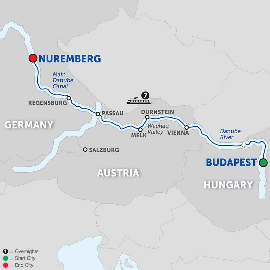 Itinerary map of The Blue Danube Discovery - Cruise Only