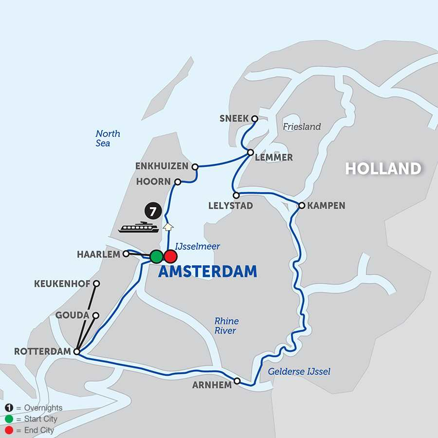 Itinerary map of TULIPS OF NORTHERN HOLLAND>