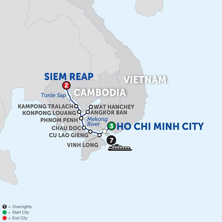 Itinerary map of Fascinating Vietnam, Cambodia & the Mekong River – Northbound