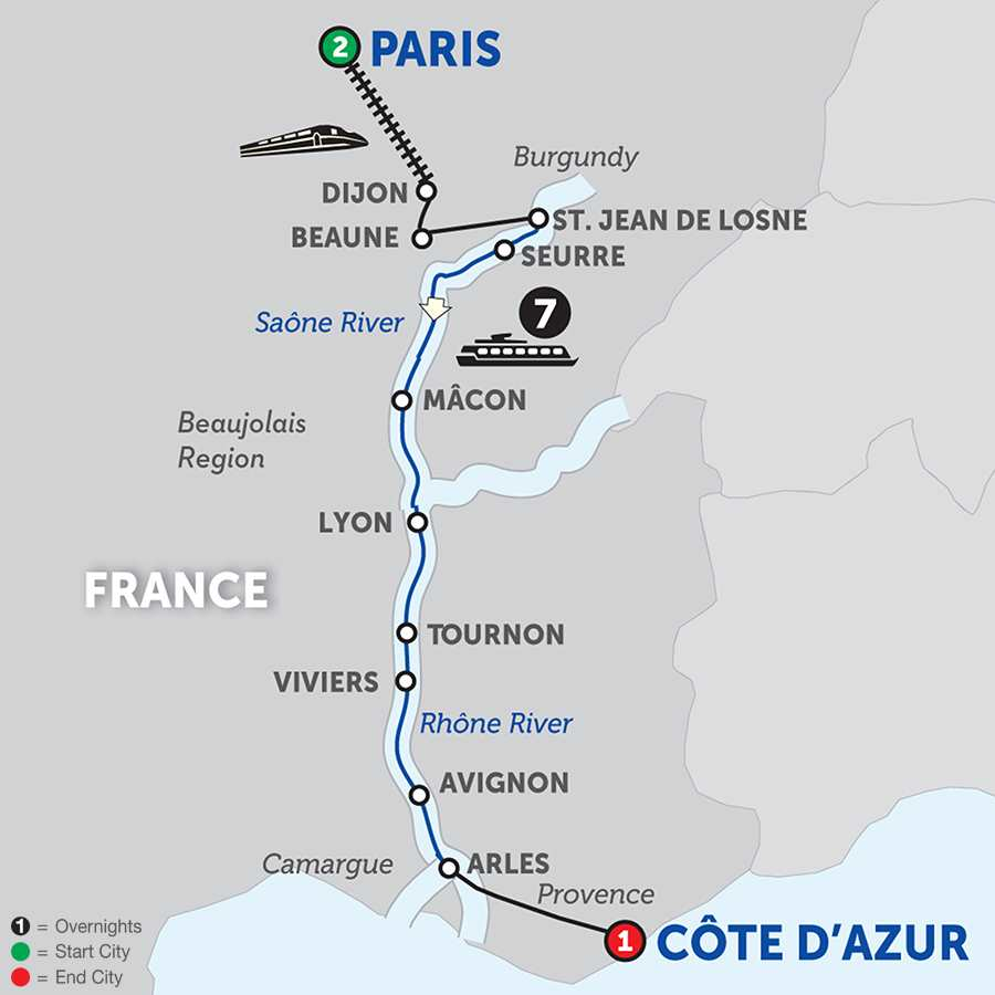 Itinerary map of Burgundy & Provence – Southbound