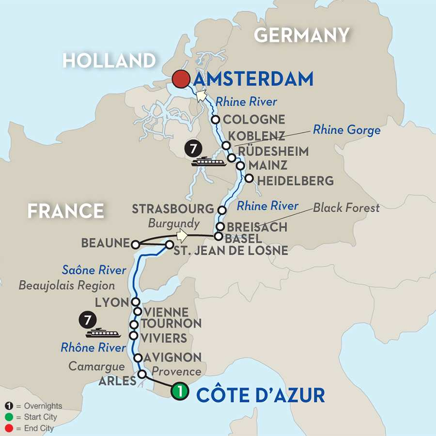 Itinerary map of Sounds of Jazz on the Rhine & Rhône Revealed