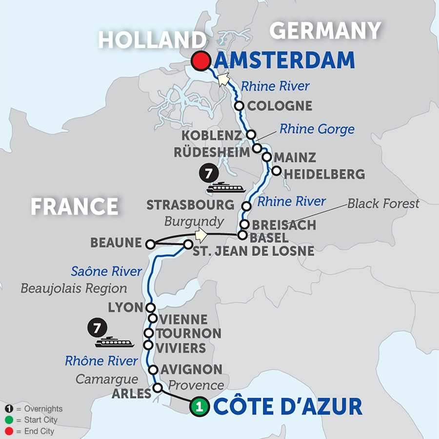 Itinerary map of Rhine & Rhône Revealed for Wine Lovers