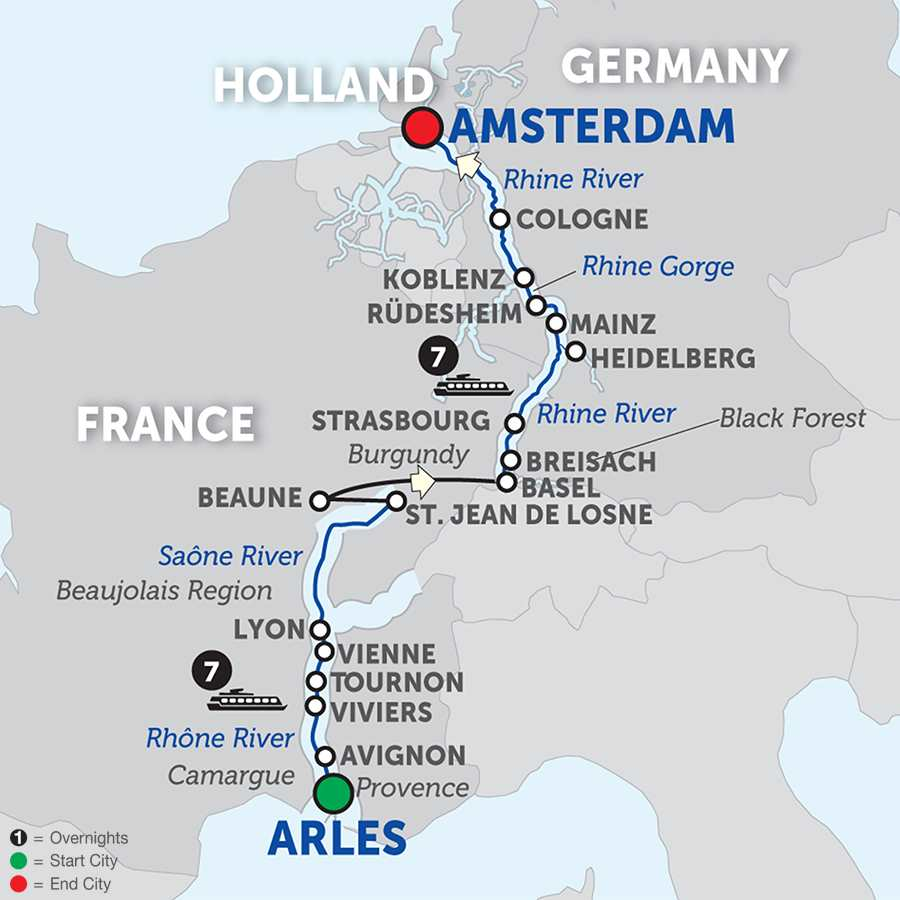 Itinerary map of Rhine & Rhône Revealed for Wine Lovers - Cruise Only
