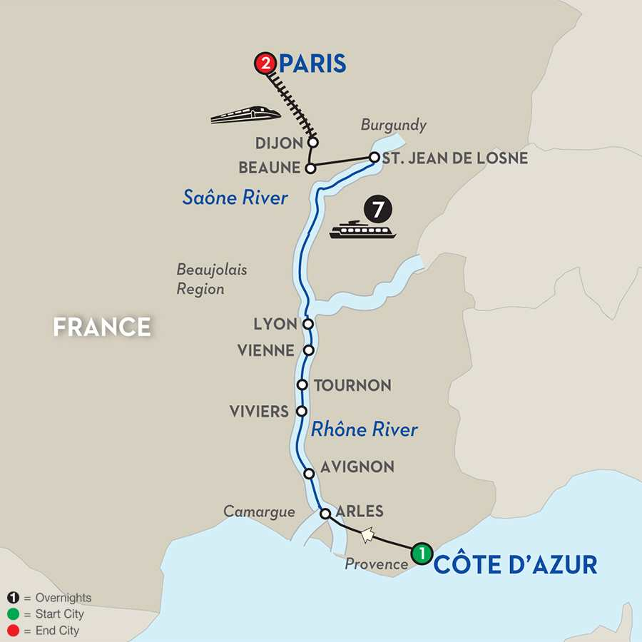 Itinerary map of Burgundy & Provence for Wine Lovers
