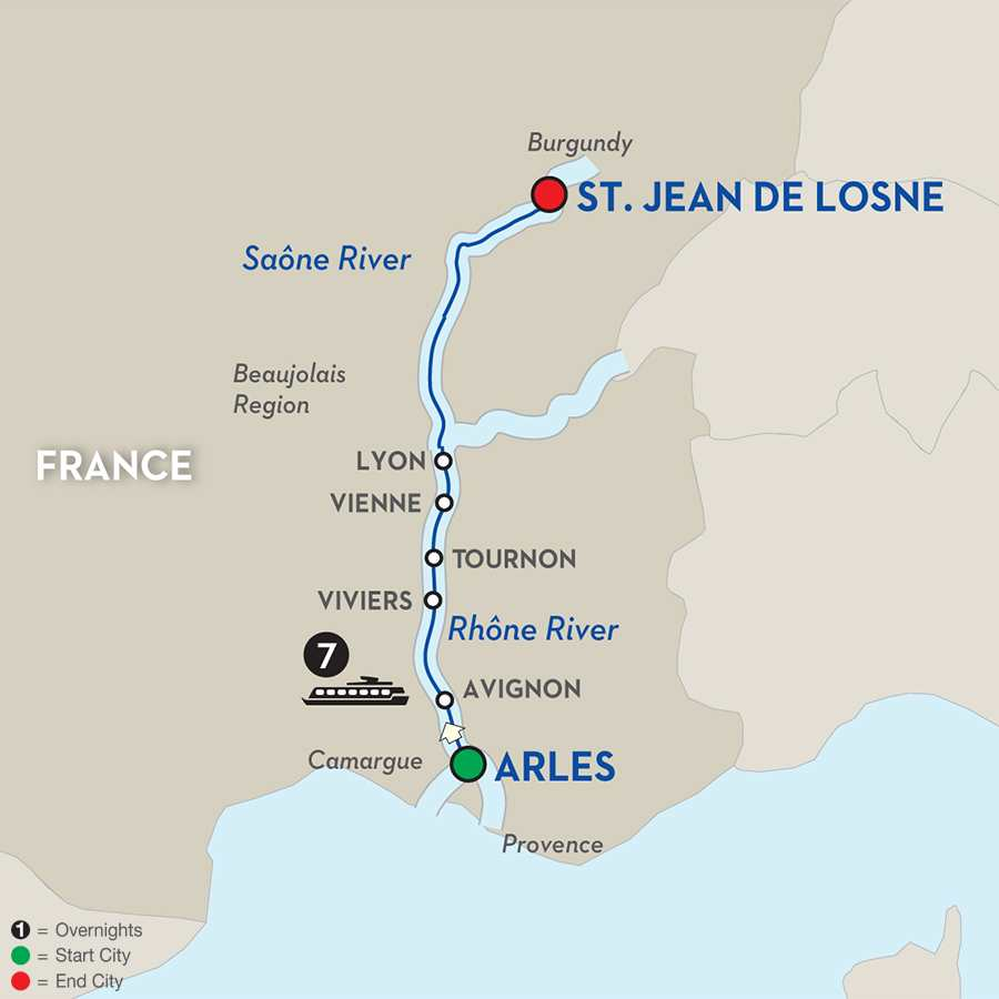 Itinerary map of Burgundy & Provence for Wine Lovers - Cruise Only
