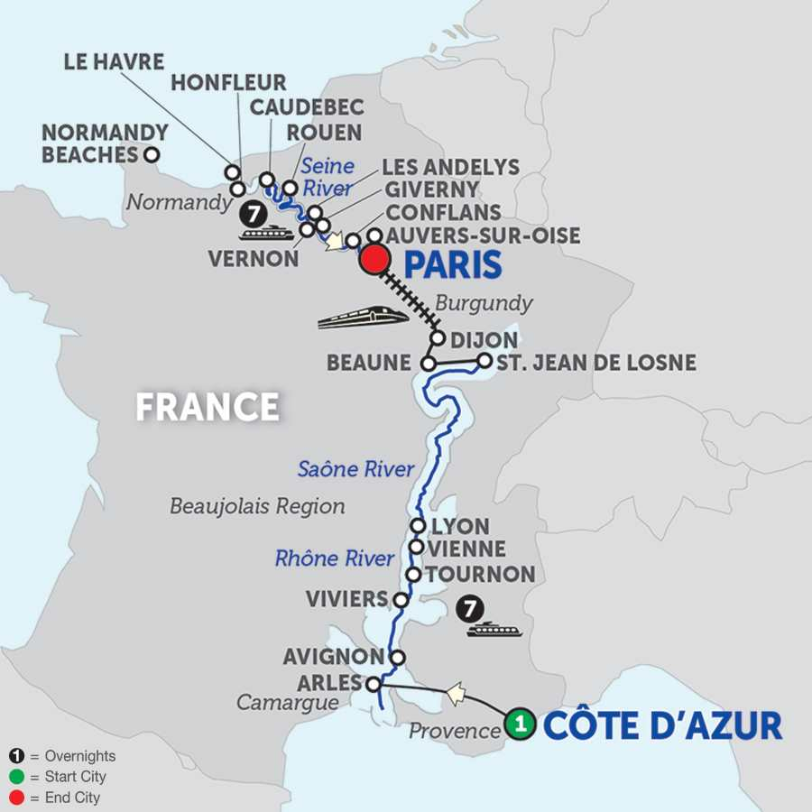 Itinerary map of Grand France with Journeys Club Celebration