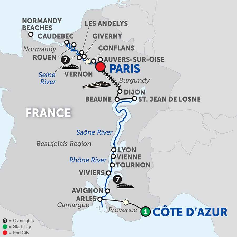 Itinerary map of Grand France – Northbound>