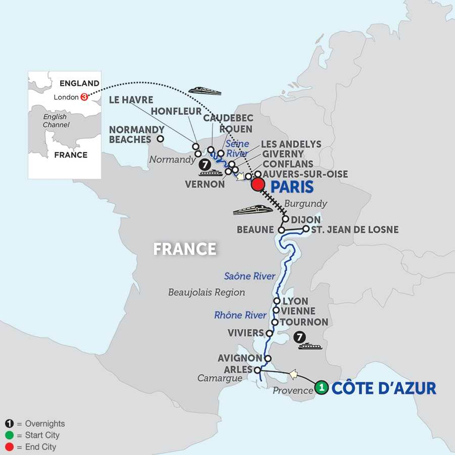 Itinerary map of Grand France with London and Journeys Club Celebration - Northbound
