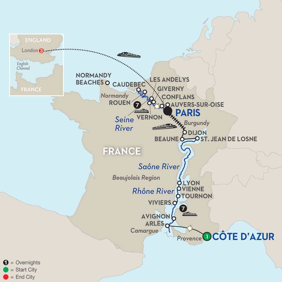 Itinerary map of Grand France with London for Wine Lovers - Northbound