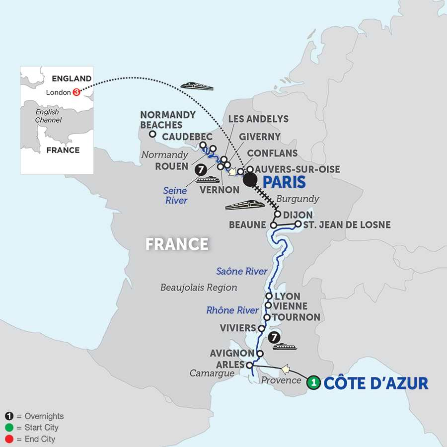 Itinerary map of Grand France with London – Northbound