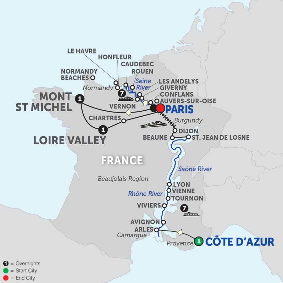Itinerary map of Grand France with Mont St. Michel & Loire Valley with Journeys Club Celebration