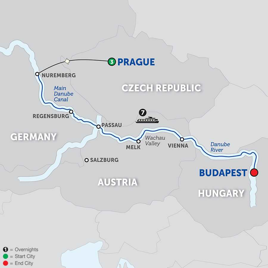 Itinerary map of The Legendary Danube>
