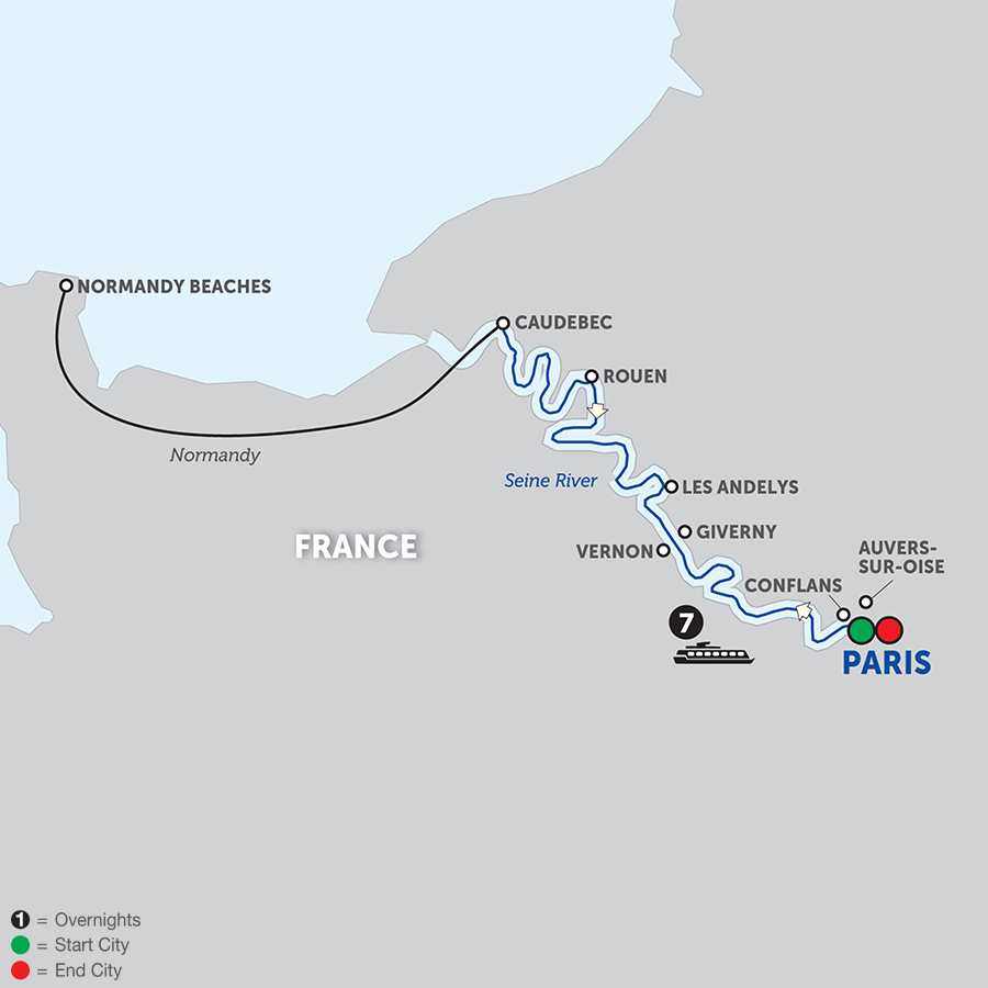Itinerary map of Paris to Normandy