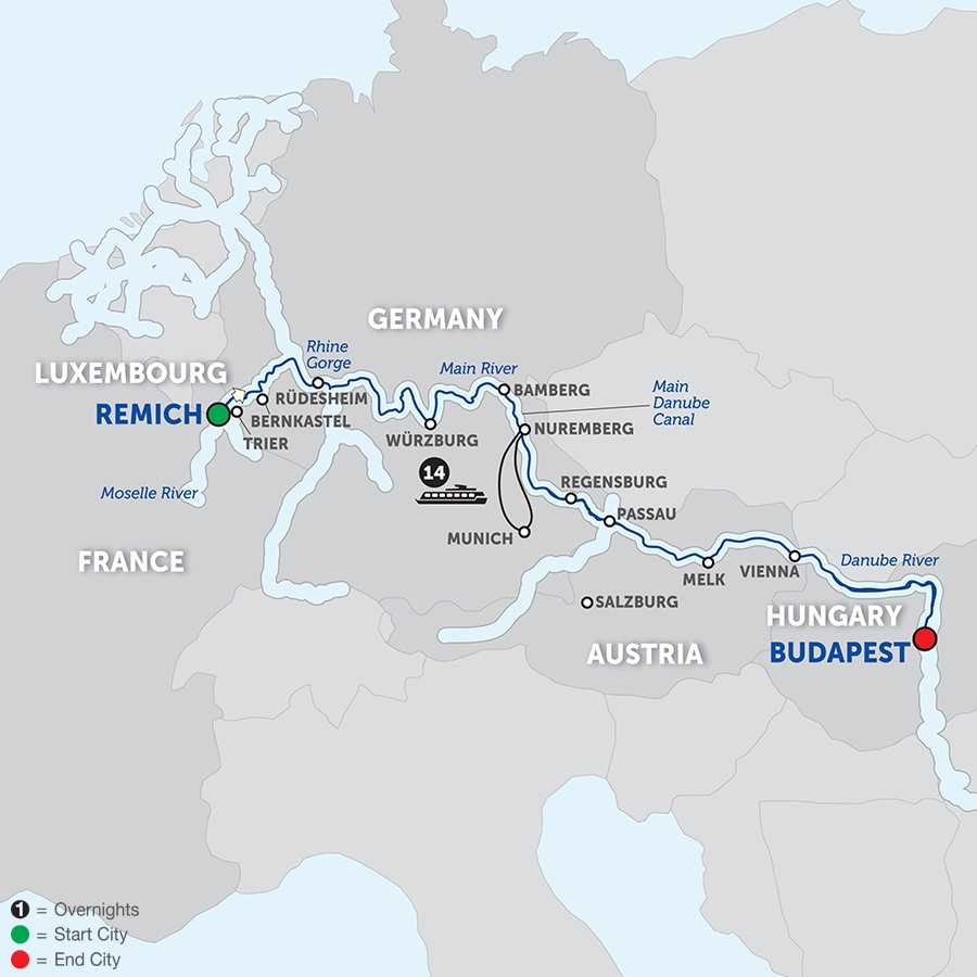 Itinerary map of Jewels of Central Europe - Cruise Only Eastbound