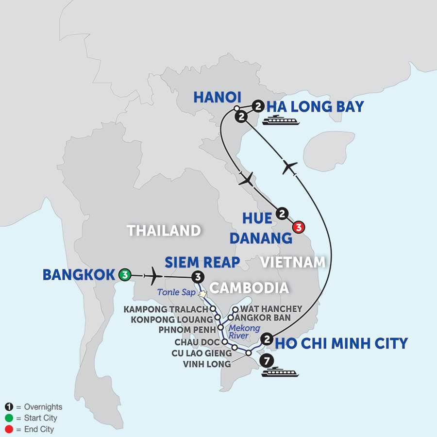 Itinerary map of Ultimate Southeast Asia & The Majestic Mekong with Hue & Danang - Southbound