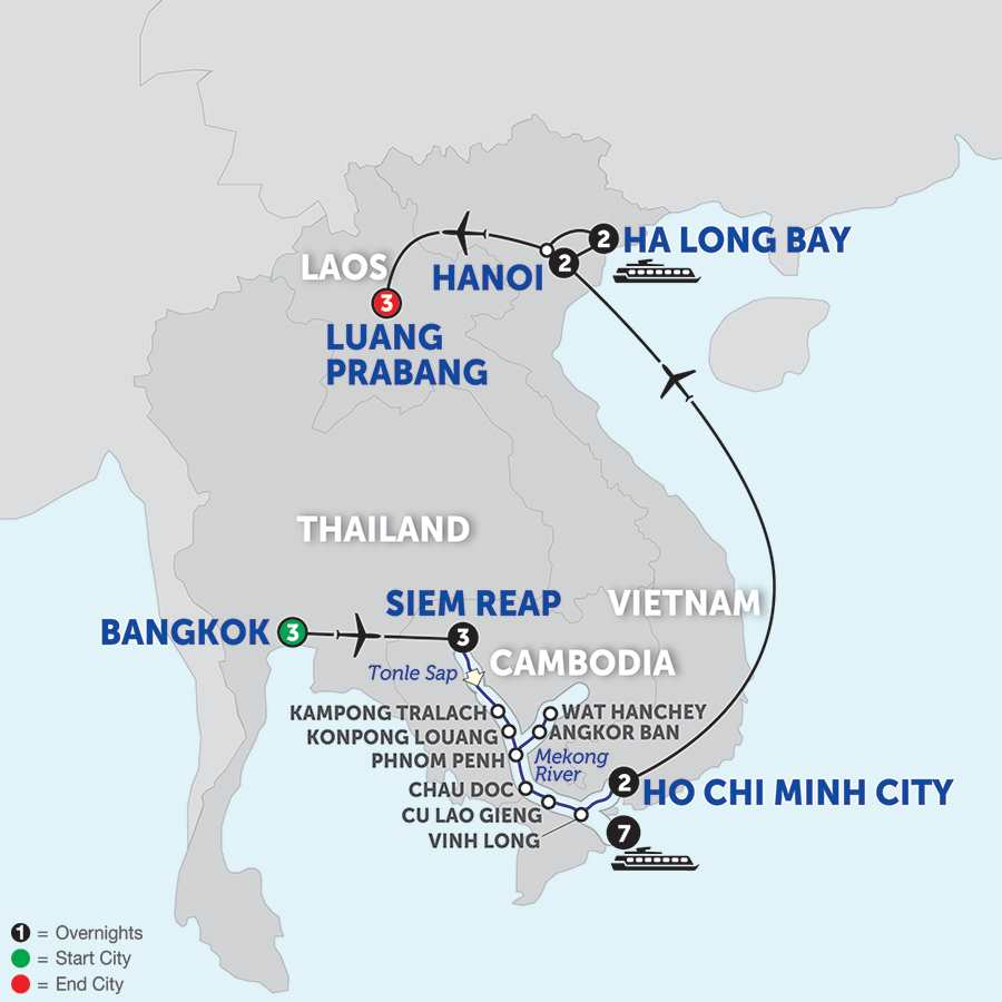 Itinerary map of Ultimate Southeast Asia & The Majestic Mekong with Luang Prabang - Southbound