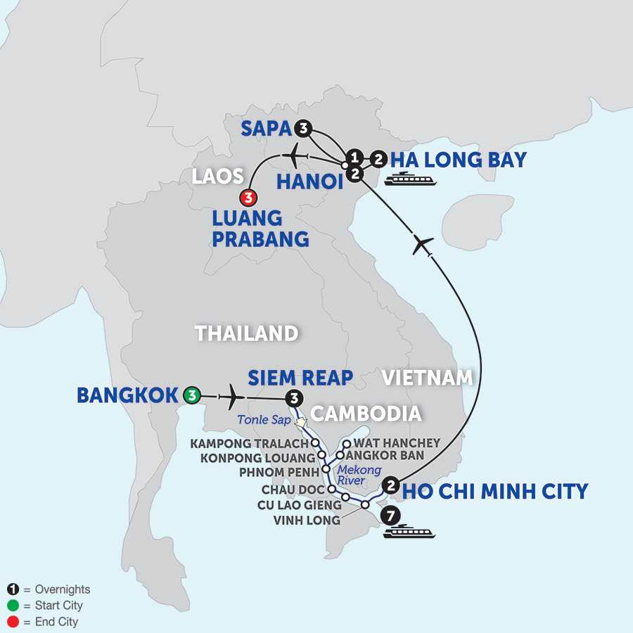 Itinerary map of Ultimate Southeast Asia & The Majestic Mekong with Sapa & Luang Prabang - Southbound