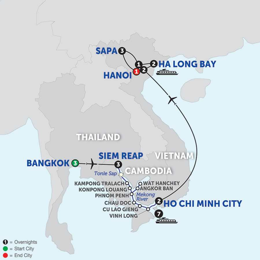 Itinerary map of Ultimate Southeast Asia & The Majestic Mekong with Sapa - Southbound