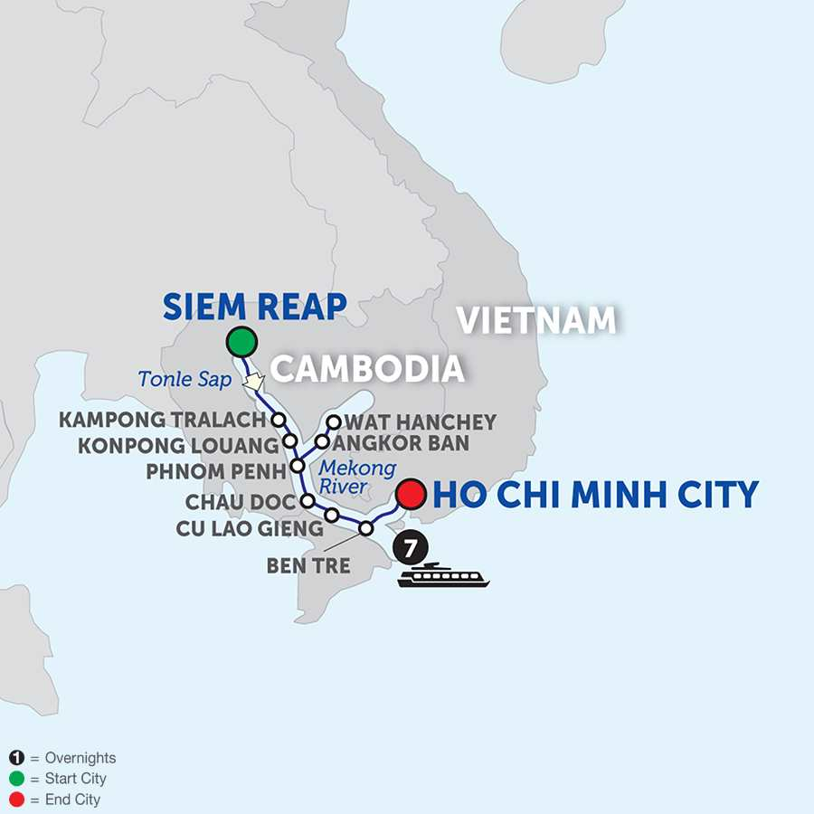 Itinerary map of Fascinating Vietnam, Cambodia & the Mekong River – Cruise Only Southbound