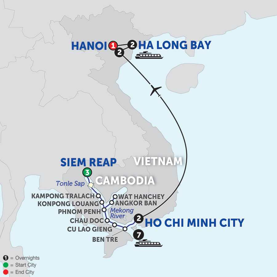 Itinerary map of The Heart of Cambodia & Vietnam - Southbound