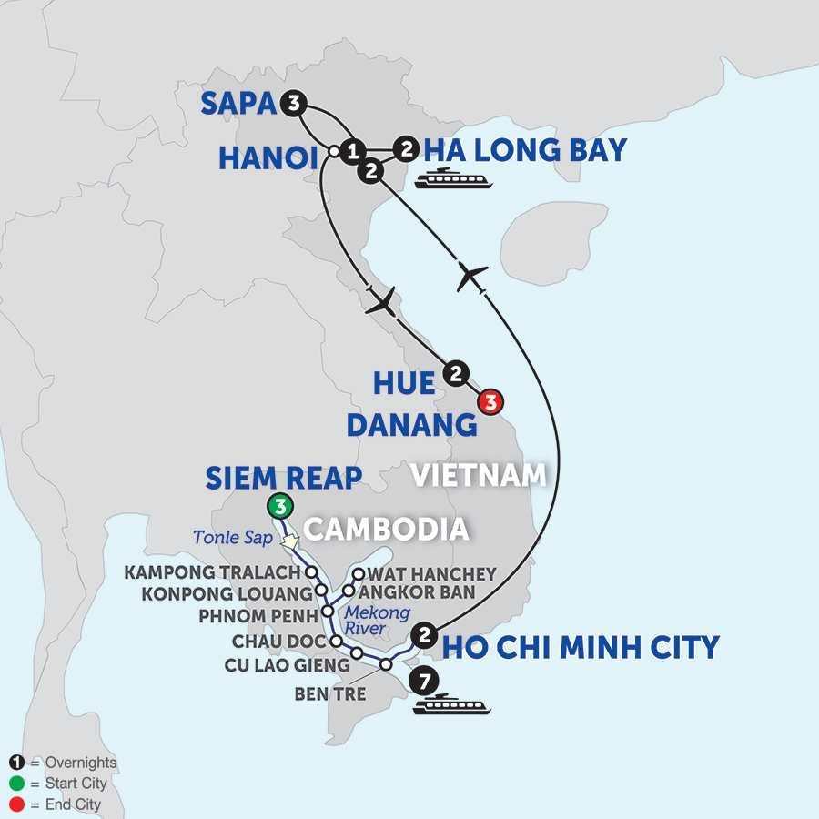Itinerary map of The Heart of Cambodia & Vietnam with Sapa, Hue & Danang - Southbound