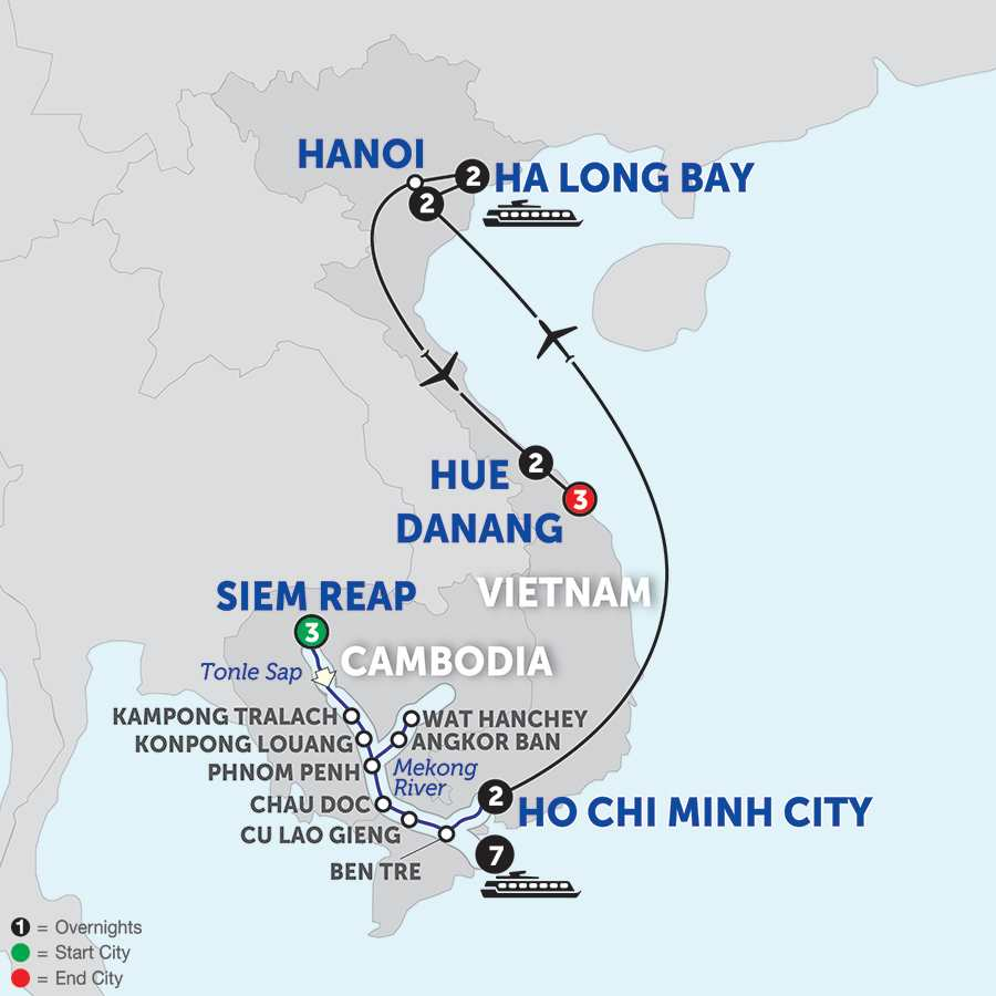 Itinerary map of The Heart of Cambodia & Vietnam with Hue & Danang - Southbound