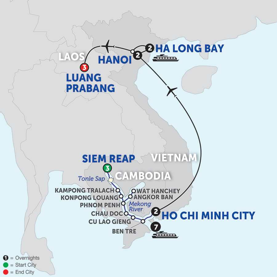 Itinerary map of The Heart of Cambodia & Vietnam with Luang Prabang - Southbound