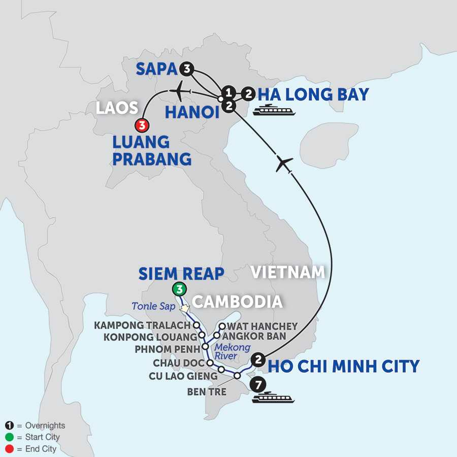 Itinerary map of The Heart of Cambodia & Vietnam with Sapa and Luang Prabang - Southbound