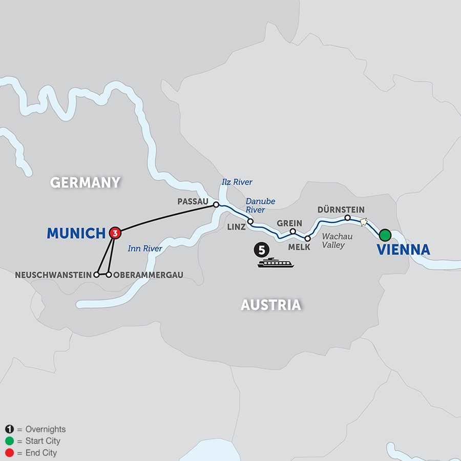 Itinerary map of Danube Symphony - Westbound