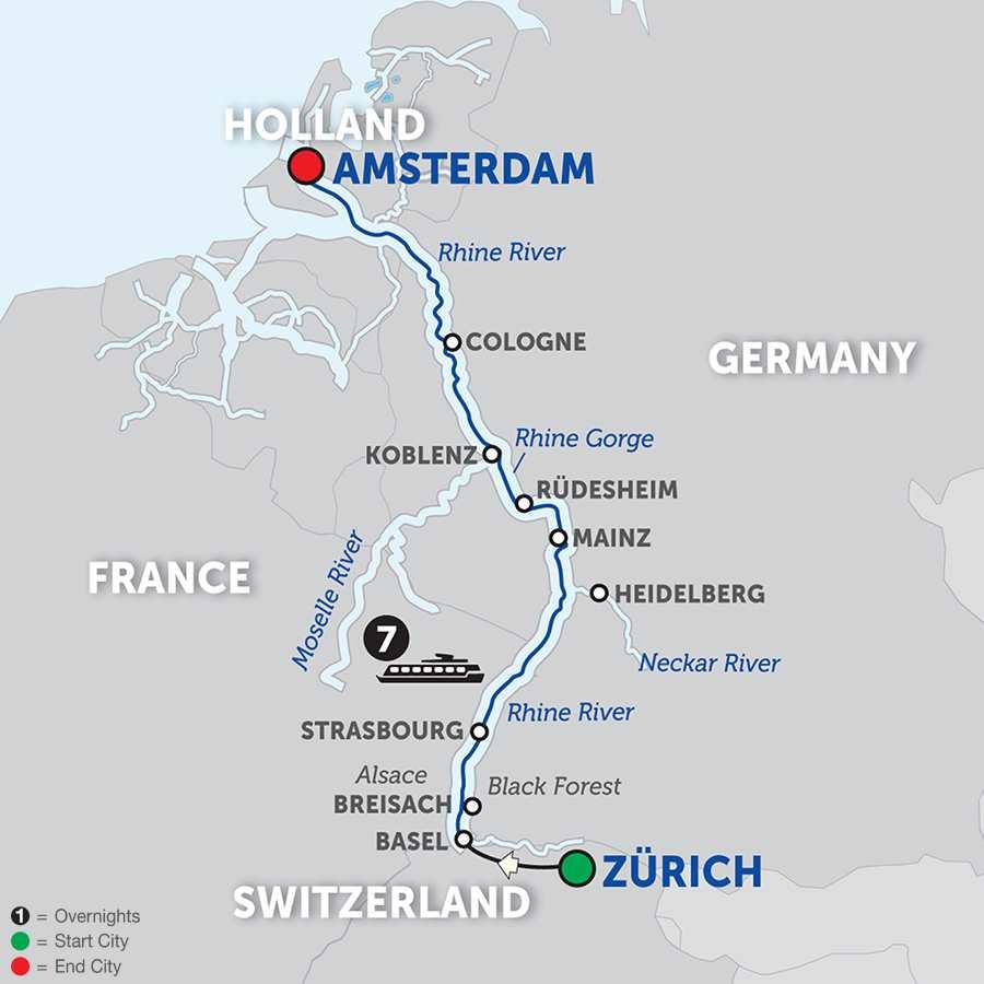 Itinerary map of Romantic Rhine – Northbound>