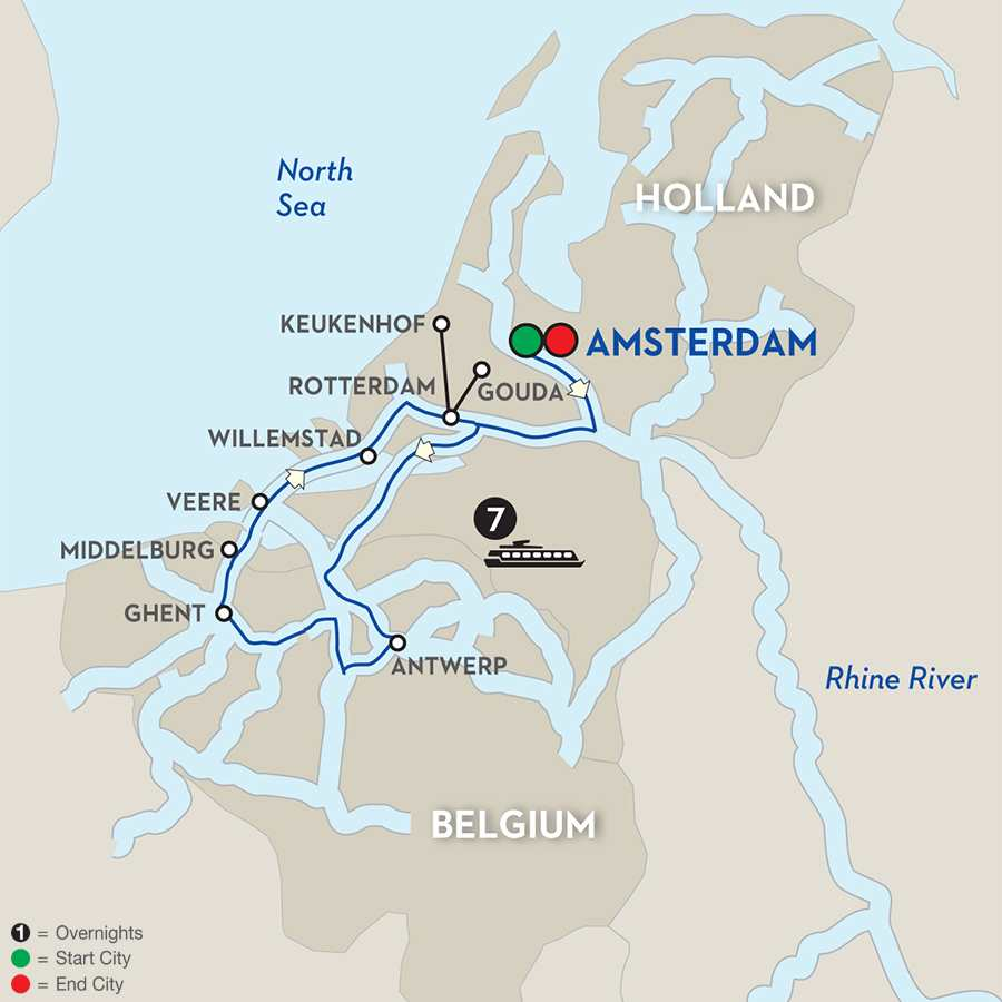Itinerary map of Tulip Time Cruise for Garden & Nature Lovers 2019 Amsterdam to Amsterdam