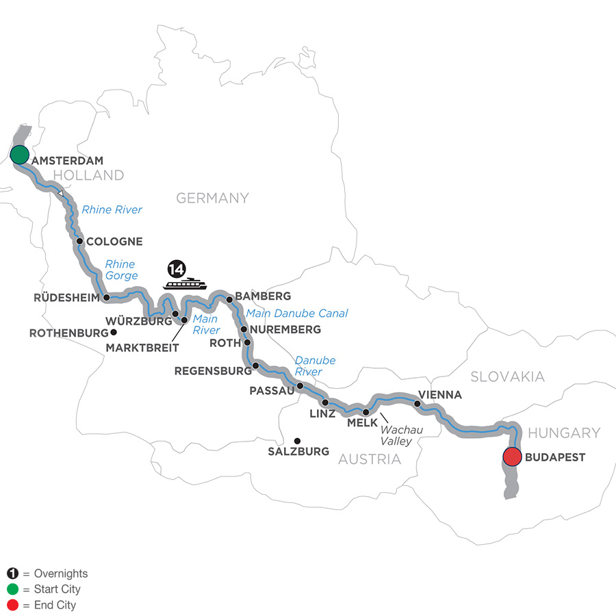 Itinerary map of Magnificent Europe – Eastbound