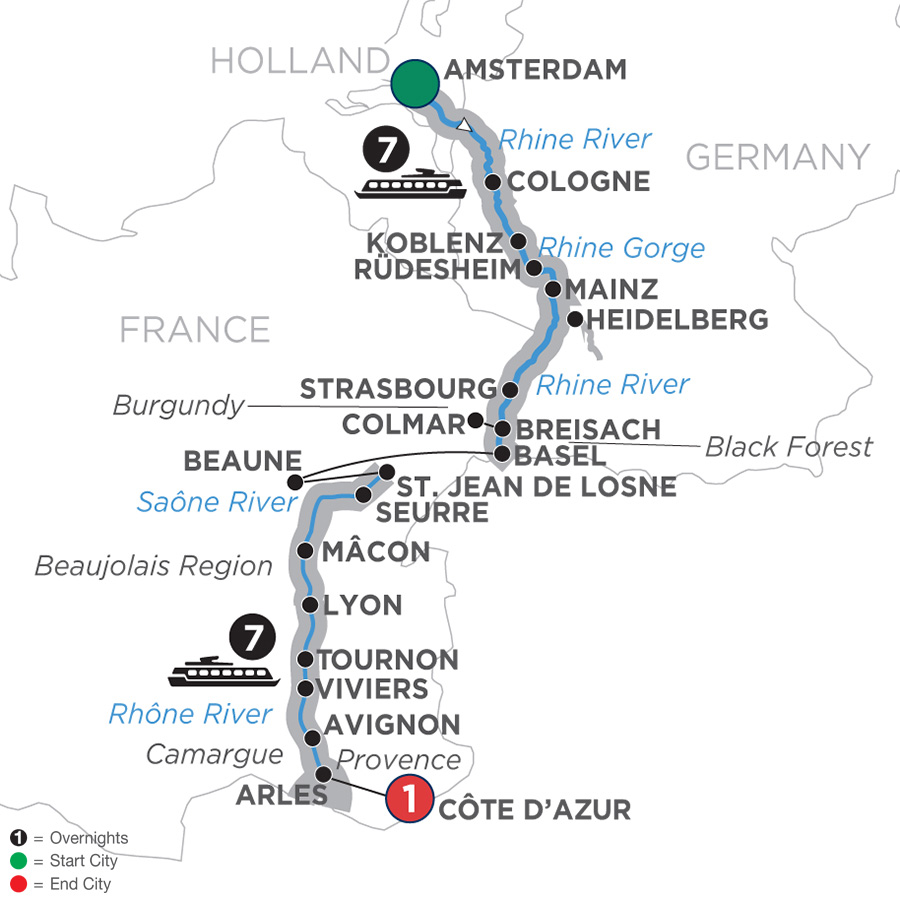 Cheap Rhine River Cruises: Southbound 2019 Amsterdam To Côte