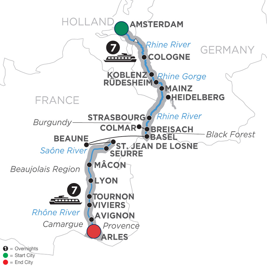 Itinerary map of Rhine & Rhône Revealed - Cruise Only Southbound