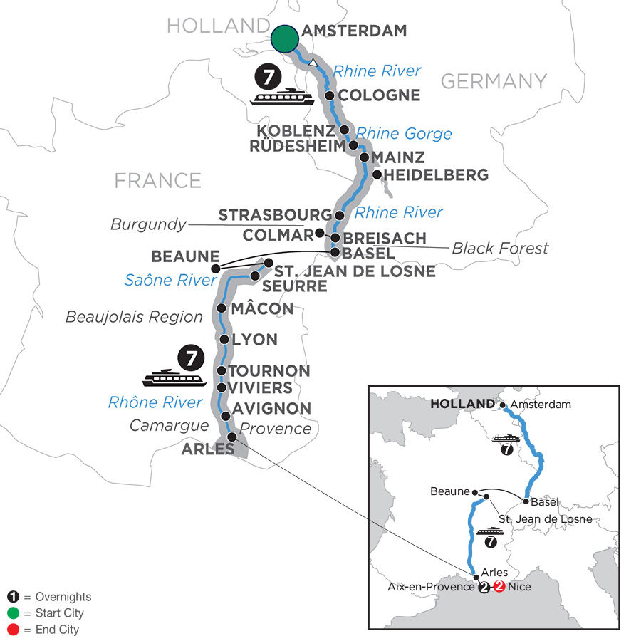 Itinerary map of Rhine & Rhône Revealed with 2 Nights Aix-en-Provence & 2 Nights Nice – Southbound