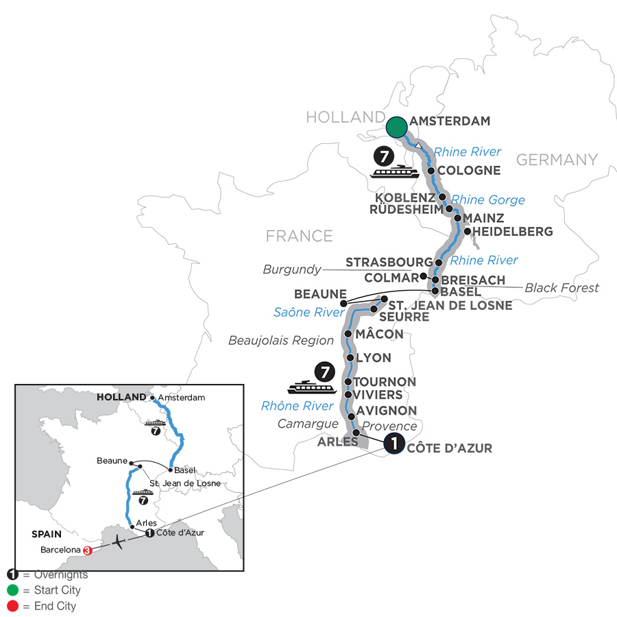 Itinerary map of Rhine & Rhône Revealed with 3 Nights Barcelona – Southbound