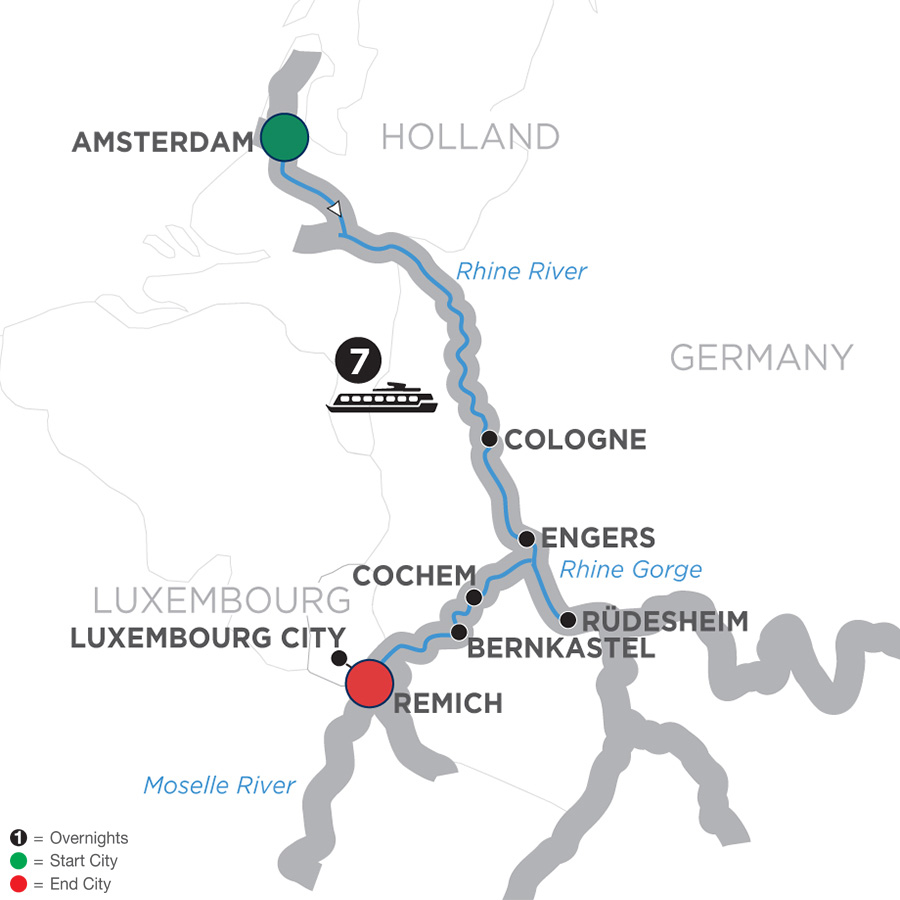 Itinerary map of Canals, Vineyards & Castles – Southbound
