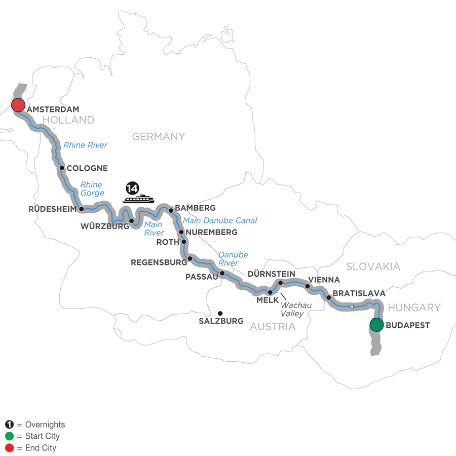 Itinerary map of Magnificent Europe – Westbound 2019 Budapest to Amsterdam