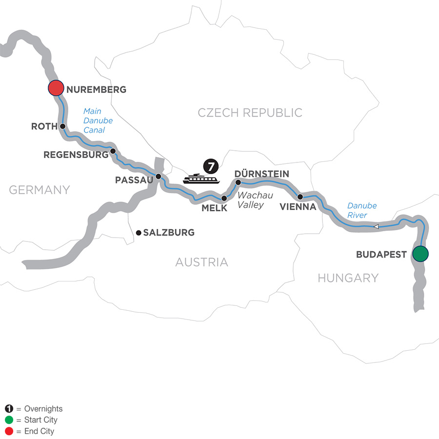 Itinerary map of The Blue Danube Discovery – Cruise Only