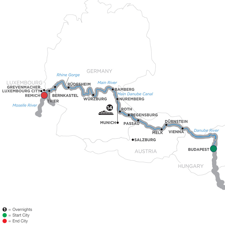 Itinerary map of Jewels of Central Europe – Cruise Only Westbound