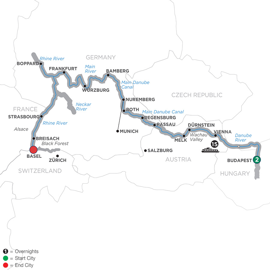 Itinerary map of Enchanted Europe for Golfers 2019 Budapest to Basel