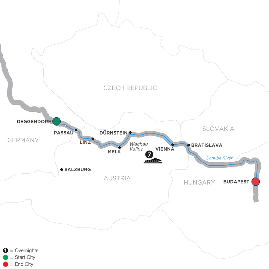 Itinerary map of Danube Dreams – Cruise Only Eastbound