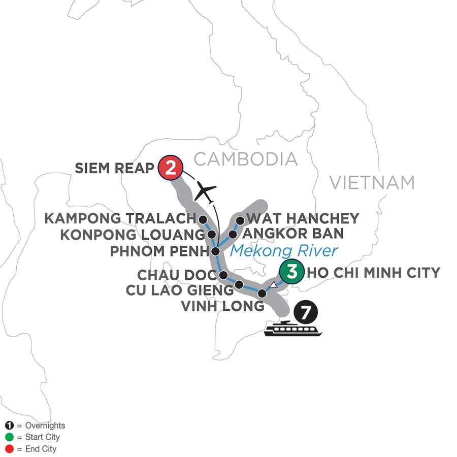 Itinerary map of Fascinating Vietnam, Cambodia & the Mekong River – Northbound 2019 Ho Chi Minh City to Siem Reap