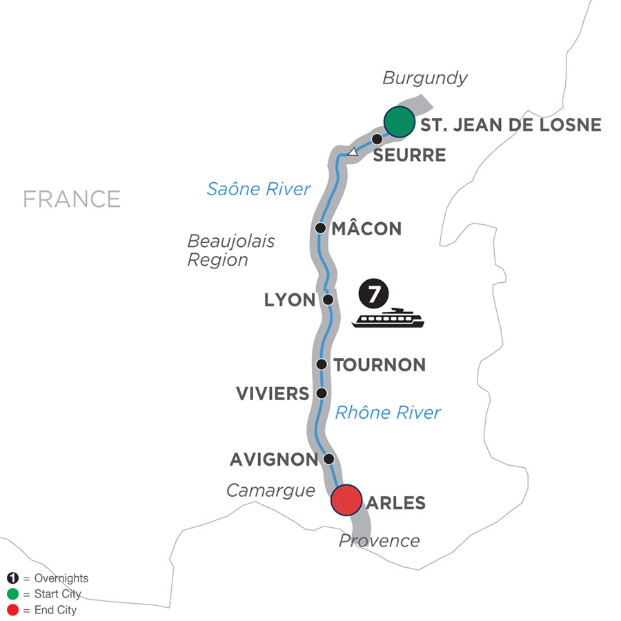 Itinerary map of Burgundy & Provence – Cruise Only Southbound