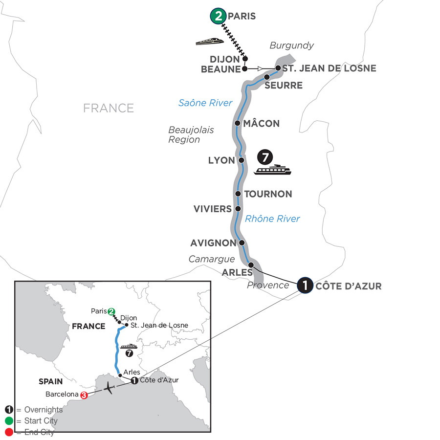 Itinerary map of Burgundy & Provence with 3 Nights Barcelona – Southbound