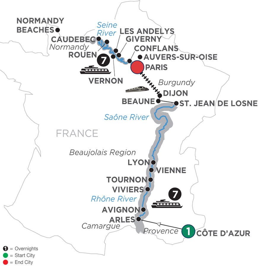 Itinerary map of Grand France – Northbound 2019 Côte d'Azur to Paris