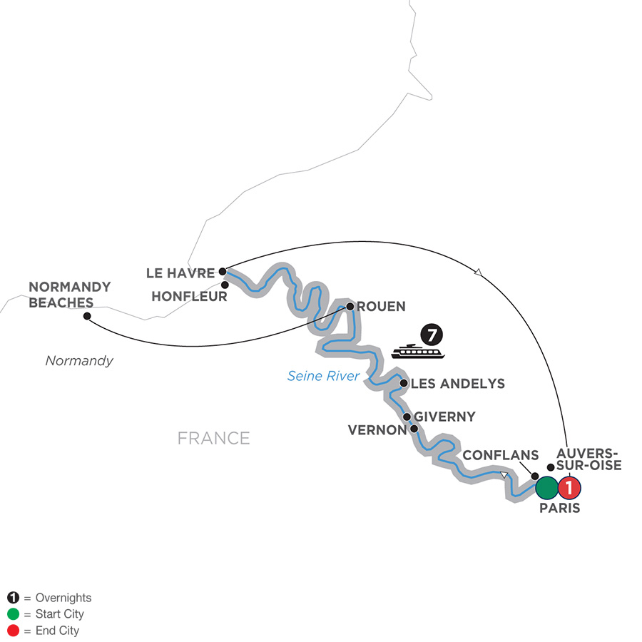 Itinerary map of Reflections on the Seine – Northbound 2019 Paris to Paris