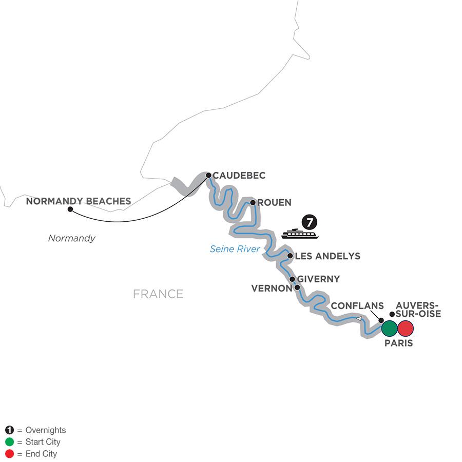 Itinerary map of Paris to Normandy 2019 Paris to Paris