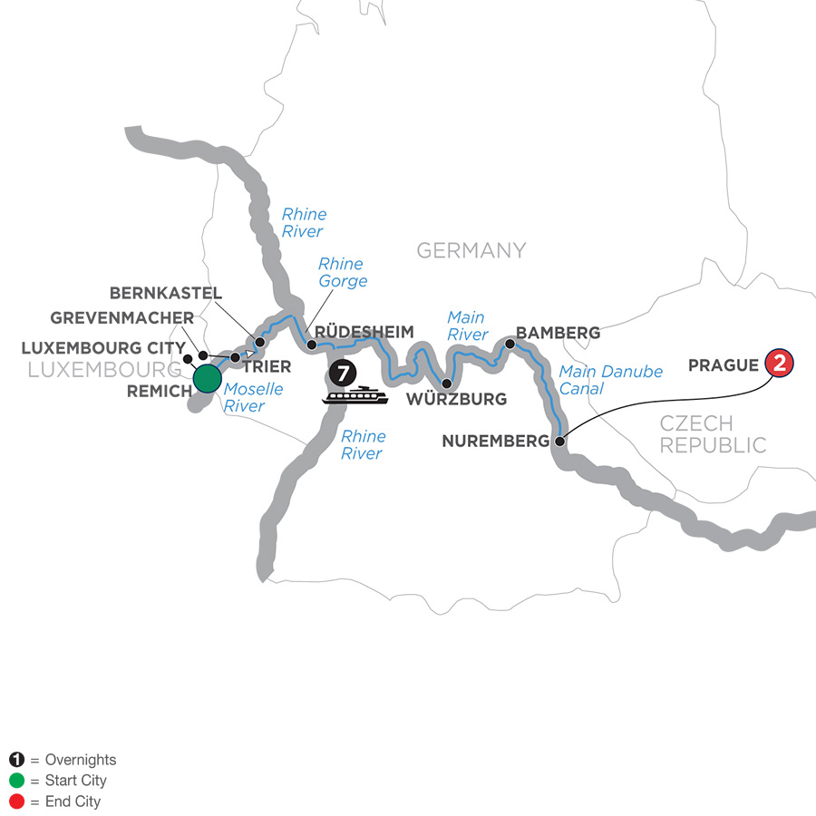 Itinerary map of Central European Experience – Eastbound